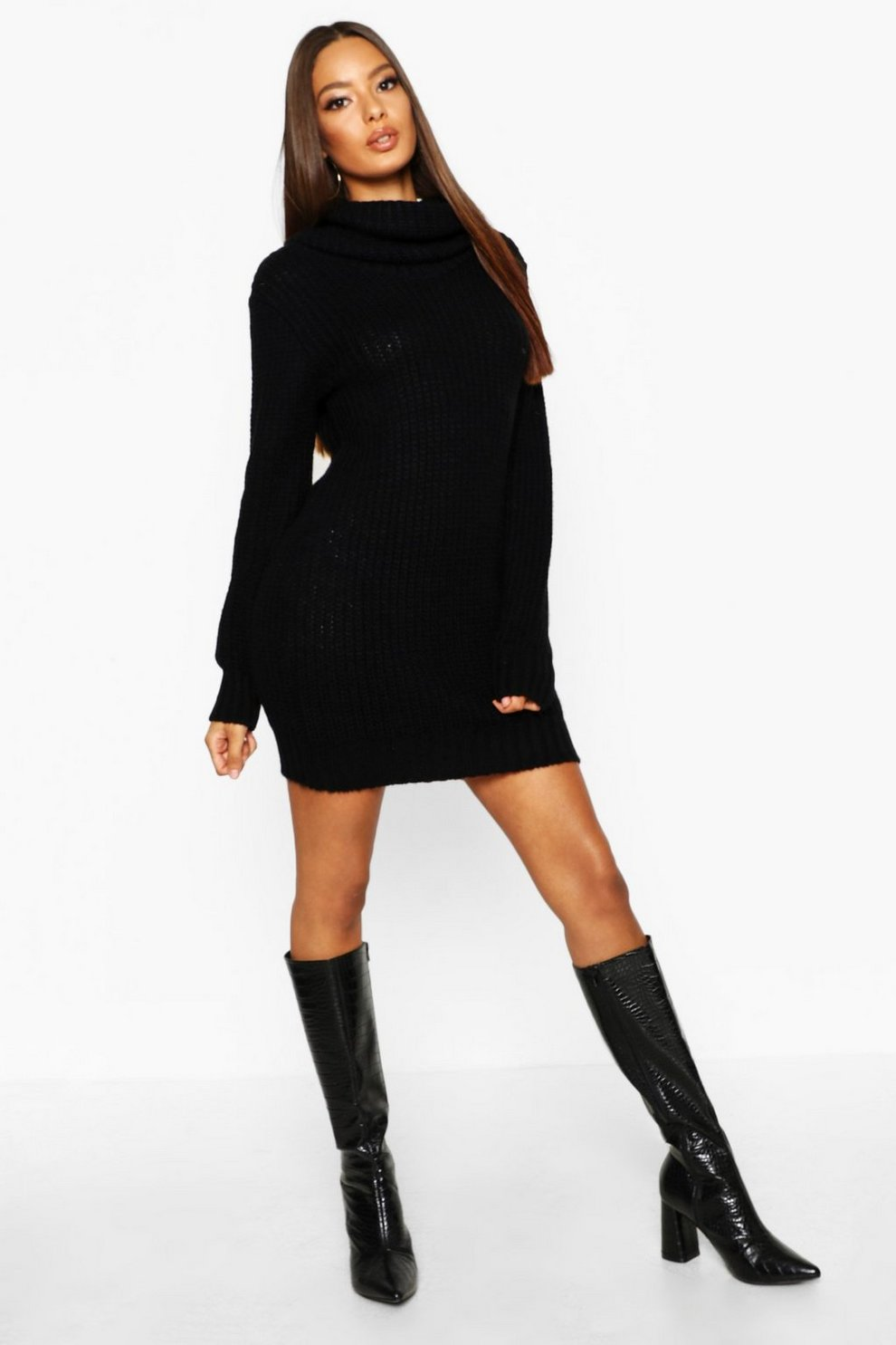 677f14a39ed Womens Black Oversized Soft Knit Cowl Neck Jumper Dress
