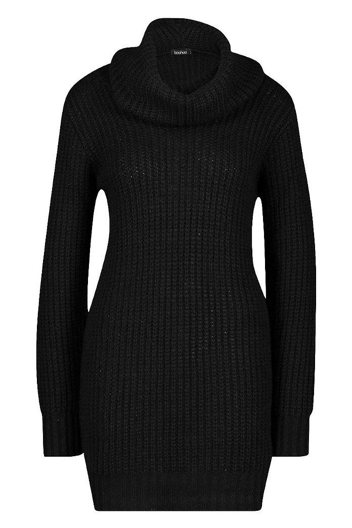 b6233c8498d Oversized Soft Knit Cowl Neck Sweater Dress | Boohoo