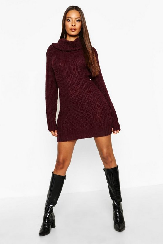 Womens Burgundy Oversized Soft Knit Cowl Neck Jumper Dress