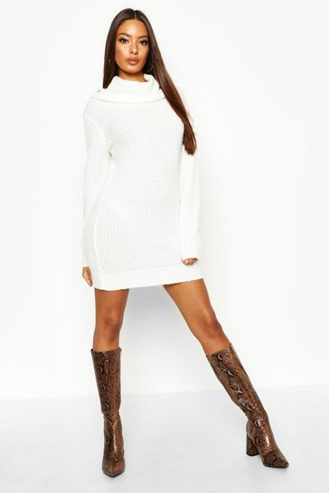 Womens Ecru Oversized Soft Knit Cowl Neck Jumper Dress