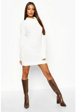 Oversized Soft Knit Cowl Neck Jumper Dress, Ecru, Donna