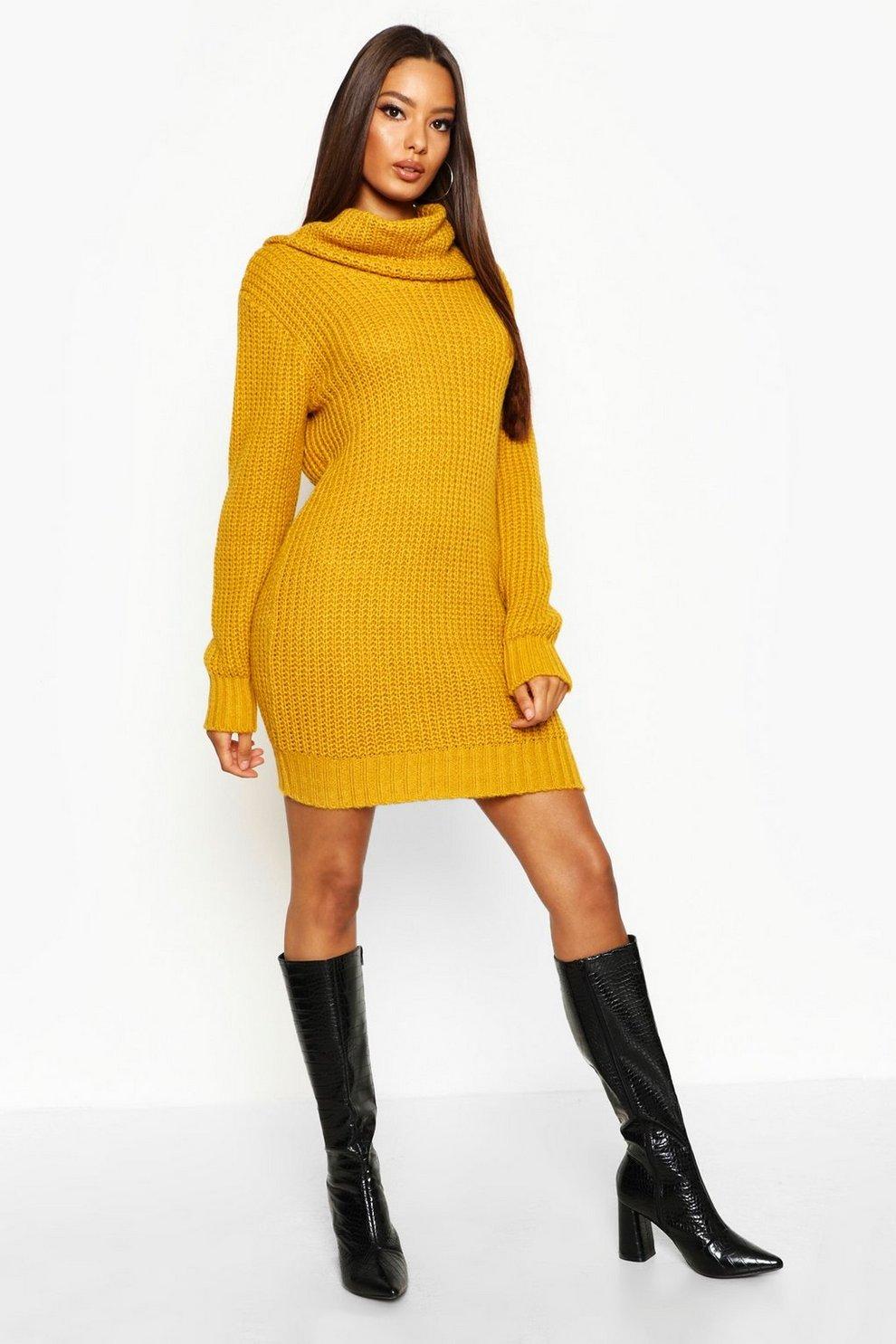 0801048176d Oversized Soft Knit Cowl Neck Jumper Dress