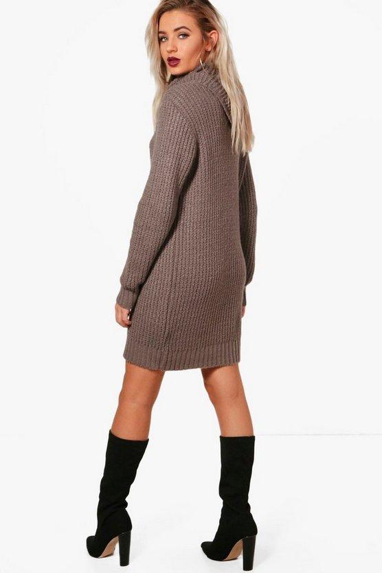 Oversized Soft Knit Cowl Neck Jumper Dress
