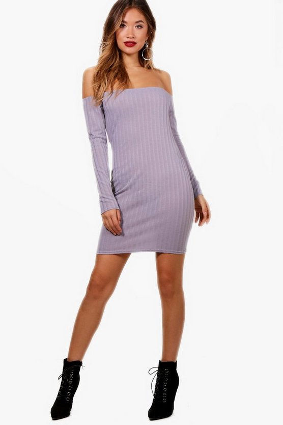 Rib Knit Bardot Dress