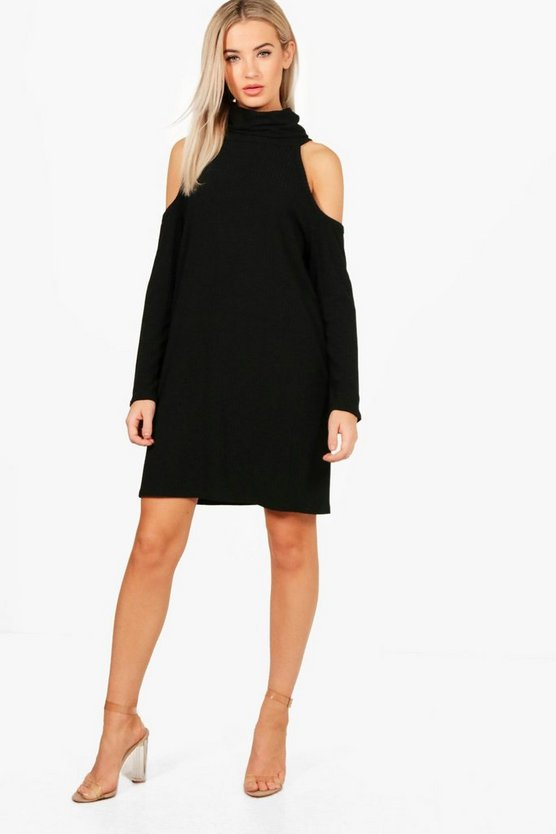 Lacey Cold Shoulder Knitted Rib Dress