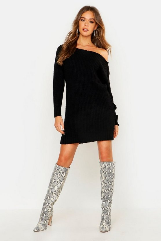 Womens Black Soft Knit Slash Neck Jumper Dress
