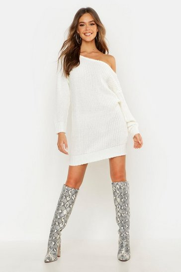Womens Ecru Soft Knit Slash Neck Jumper Dress