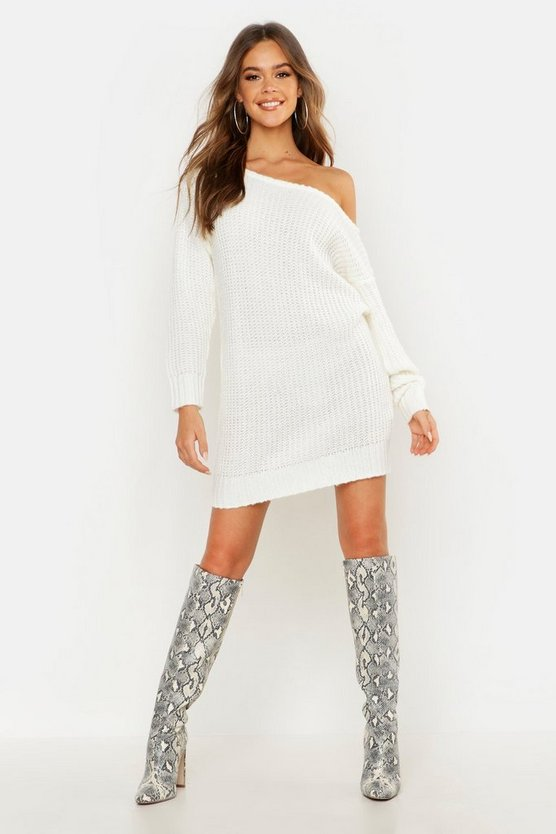 Soft Knit Slash Neck Jumper Dress