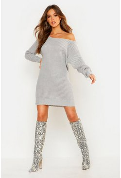 Soft Knit Slash Neck Jumper Dress, Silver, Donna