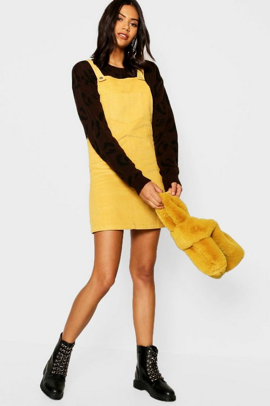 Womens Mustard Pocket Front Cord Pinafore Dress
