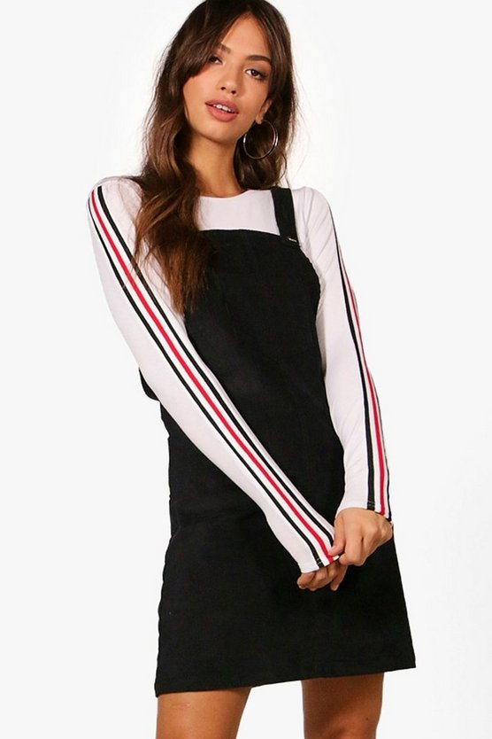 Womens Black Penny Pocket Front Cord Pinafore Dress