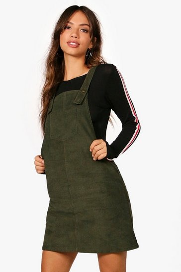 Womens Khaki Penny Pocket Front Cord Pinafore Dress