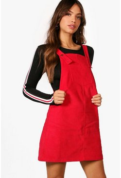 Womens Red Penny Pocket Front Cord Pinafore Dress