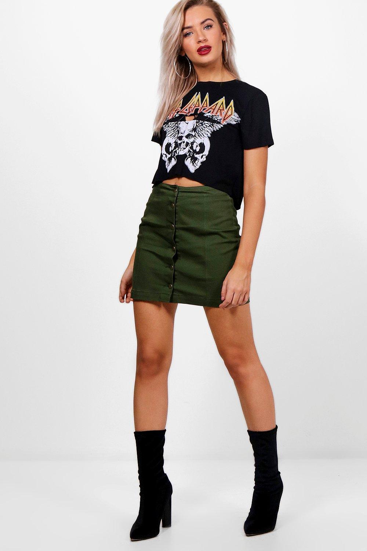 ad452f88dd Button Through Coloured Denim Skirt | Boohoo