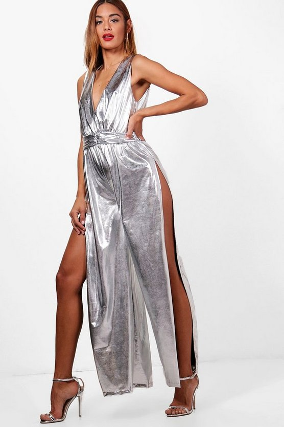 Metallic Wide Leg Split Jumpsuit
