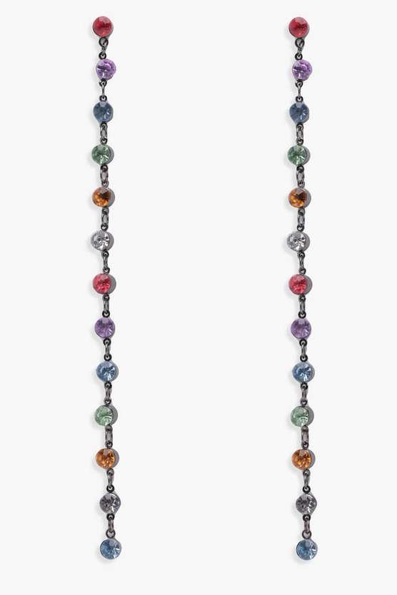 Lucy Rainbow Diamante Drop Earrings