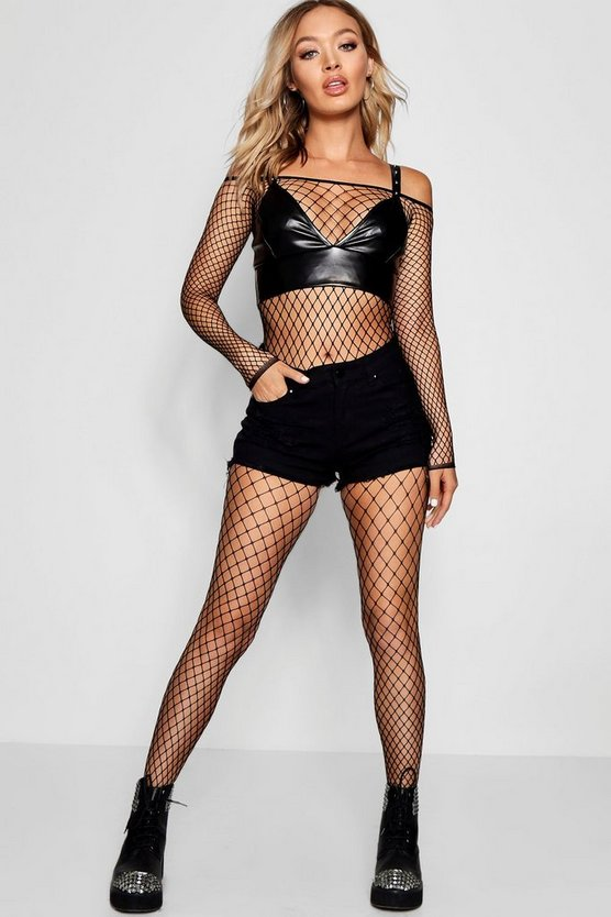 Fishnet Long Sleeve All In One