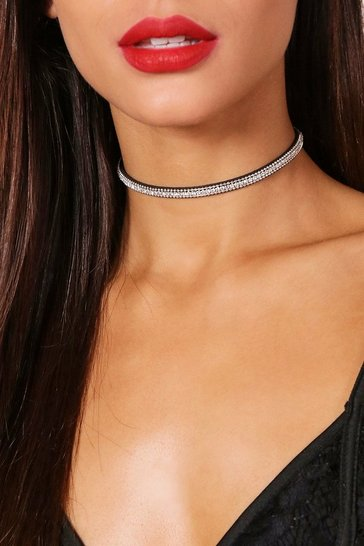 Womens Silver Layered Diamante Bling Choker