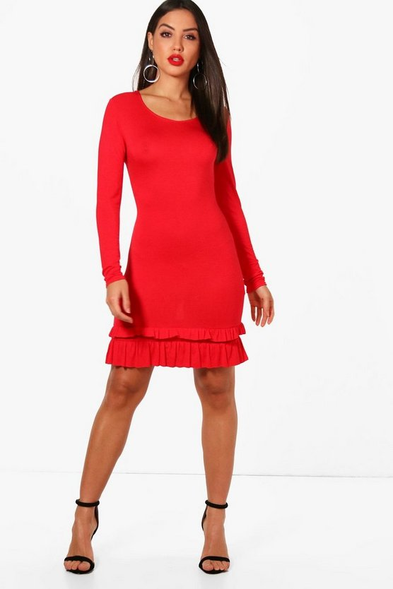 Whitney Frill Hem Long Sleeve Bodycon Dress