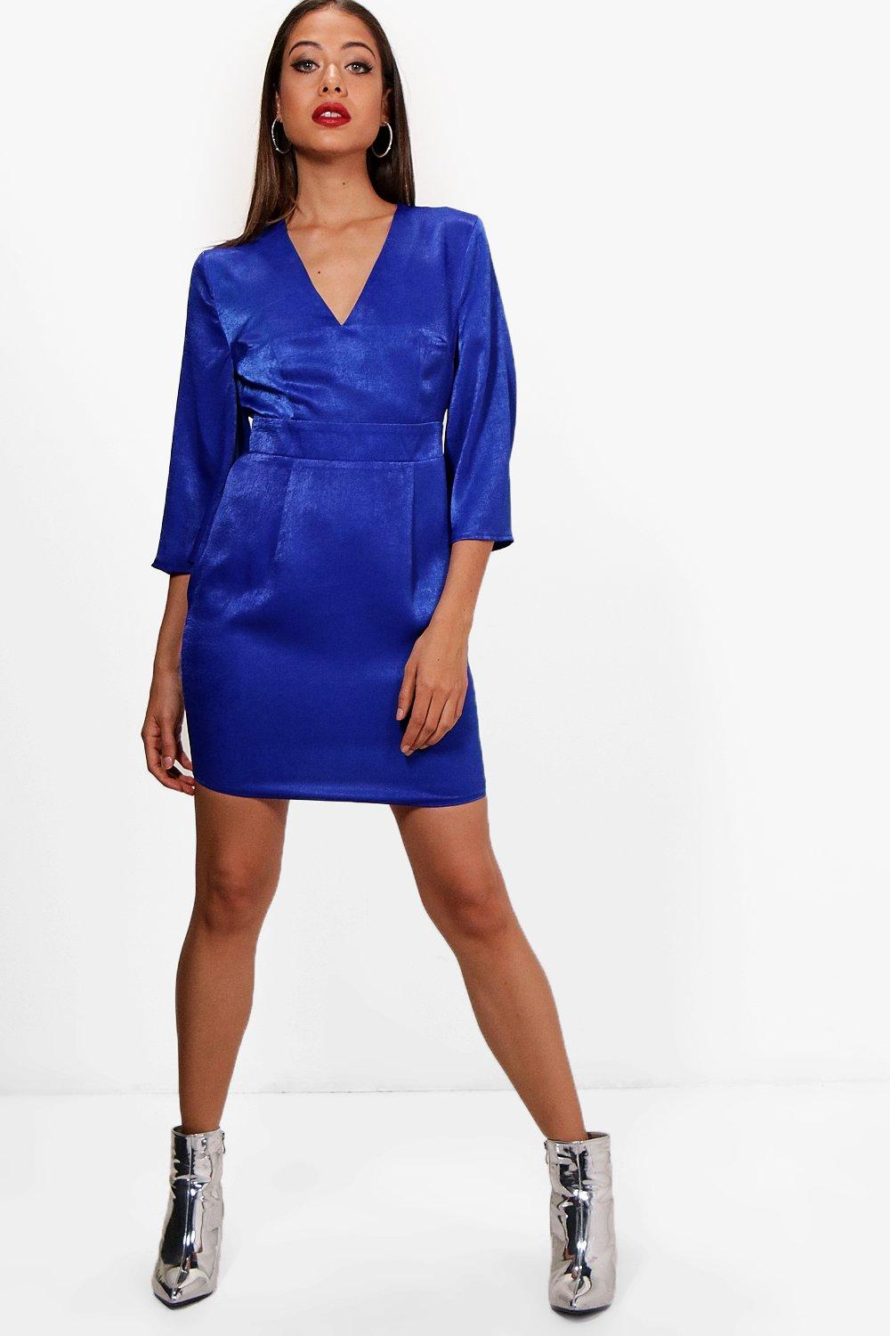 Boohoo-Womens-Wide-Sleeve-Satin-Tie-Detail-Shift-Dress