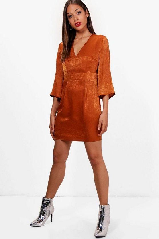 Wide Sleeve Satin Tie Detail Shift Dress