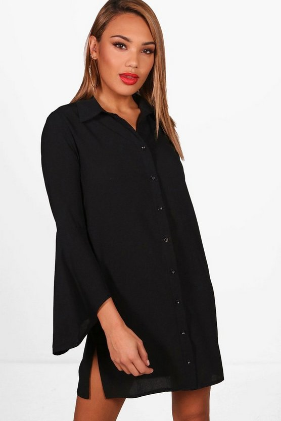 Flare Sleeve Shirt Dress