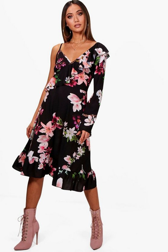One Shoulder Floral Midi Tea Dress
