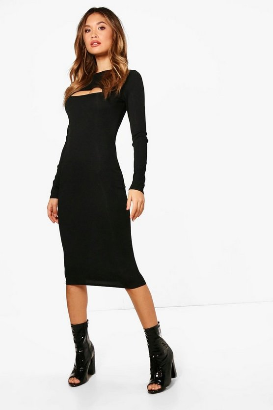 Ribbed Cut Out Midi Dress