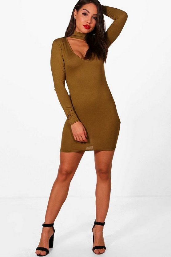 Deep Plunge Choker Bodycon Dress