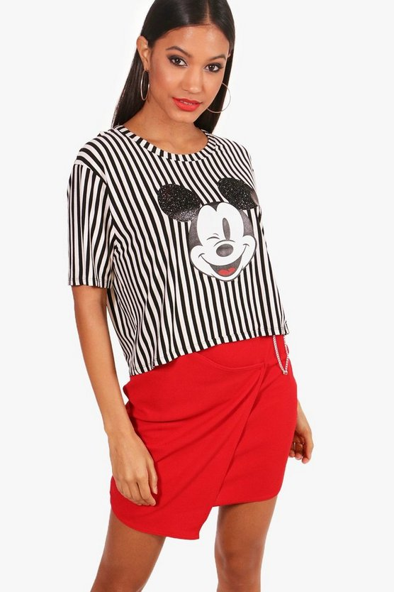 Disney Mickey Glitter Stripe Oversized Crop