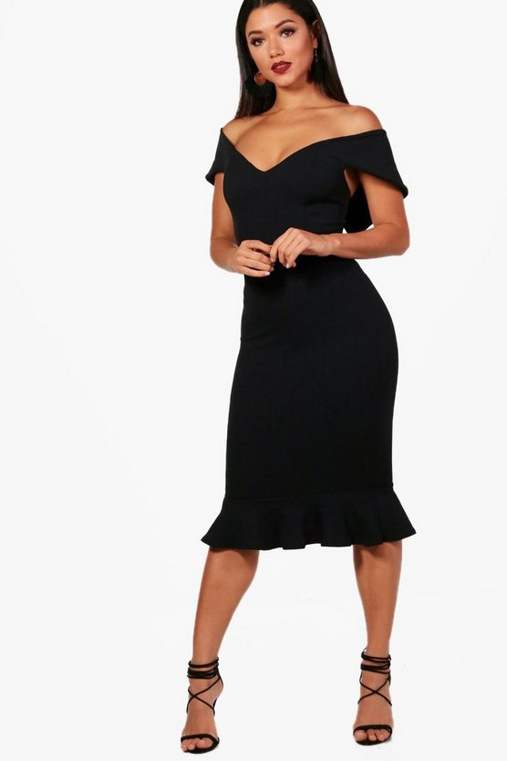 Tara Sweetheart Off the Shoulder Midi Dress