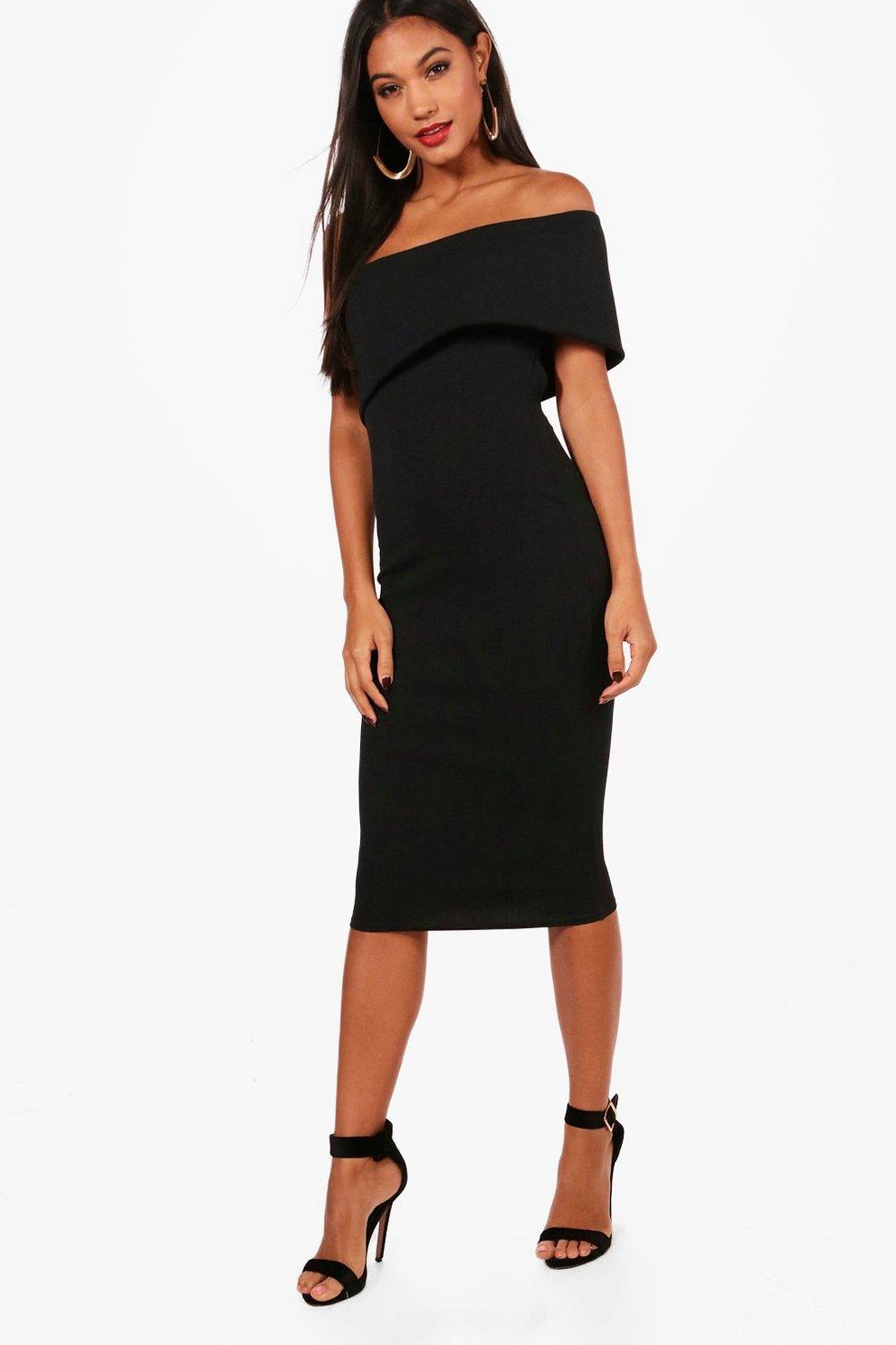 20d151a4945e0 Womens Black Oversized Bardot Open Back Midi Dress