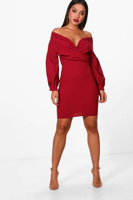 Off the Shoulder Wrap Bodycon Dress