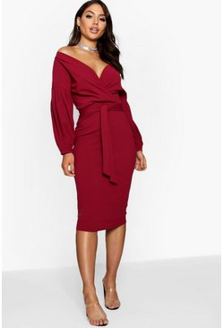 Off the Shoulder Wrap Midi Dress, Berry, Donna