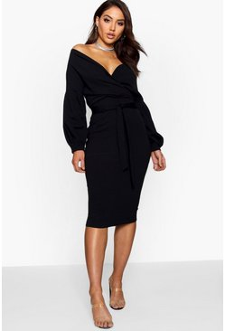 Off the Shoulder Wrap Midi Dress, Black, Donna