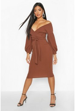 Off the Shoulder Wrap Midi Dress, Chocolate
