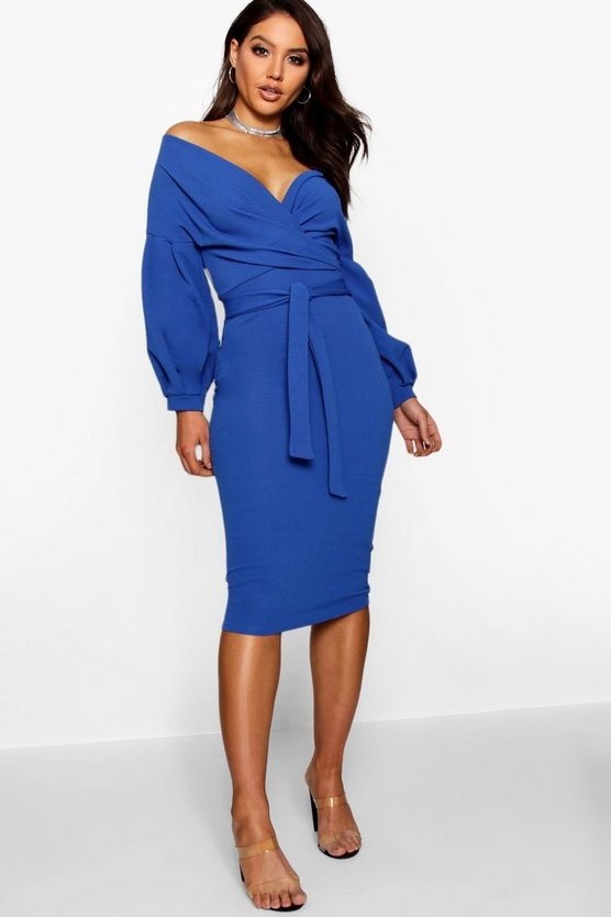 Womens Cobalt Off the Shoulder Wrap Midi Dress
