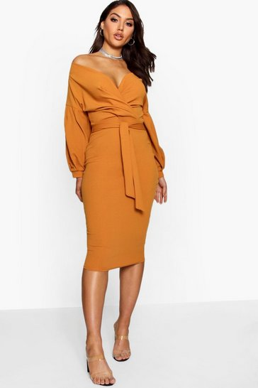 Womens Desert sand Off the Shoulder Wrap Midi Dress
