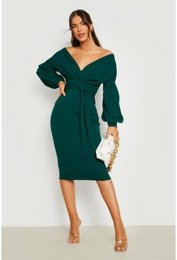Off the Shoulder Wrap Midi Dress, Emerald, Donna