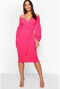 Womens Hot pink Off the Shoulder Wrap Midi Dress