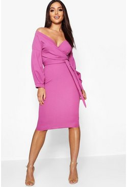 Womens Jewel purple Off the Shoulder Wrap Midi Dress