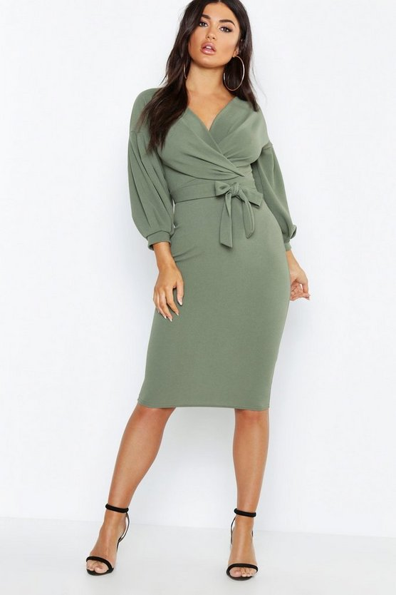 Womens Khaki Off the Shoulder Wrap Midi Dress
