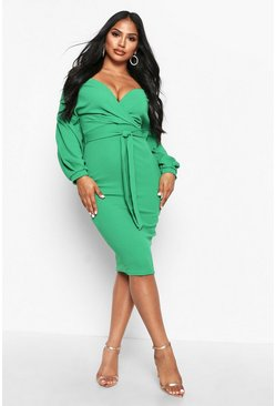 Leaf green Off the Shoulder Wrap Midi Dress