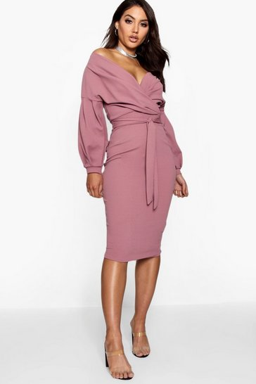 Womens Mink Off the Shoulder Wrap Midi Dress