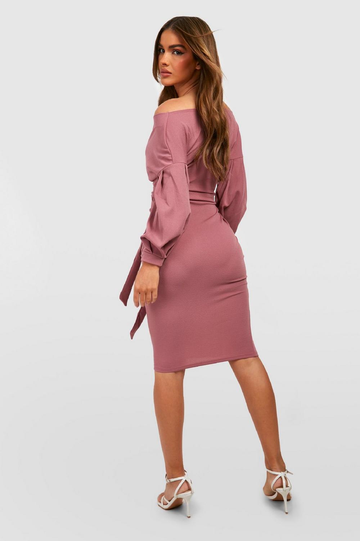 80cc5a39e9135 Boohoo Womens Off the Shoulder Wrap Midi Dress | eBay