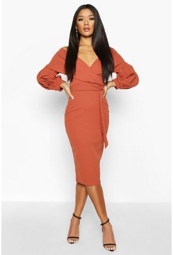 Off the Shoulder Wrap Midi Dress, Rust