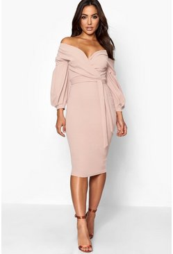 Stone Off the Shoulder Wrap Midi Dress
