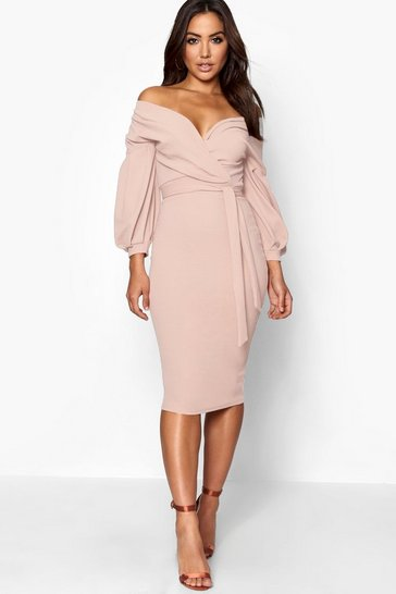 Womens Stone Off the Shoulder Wrap Midi Dress