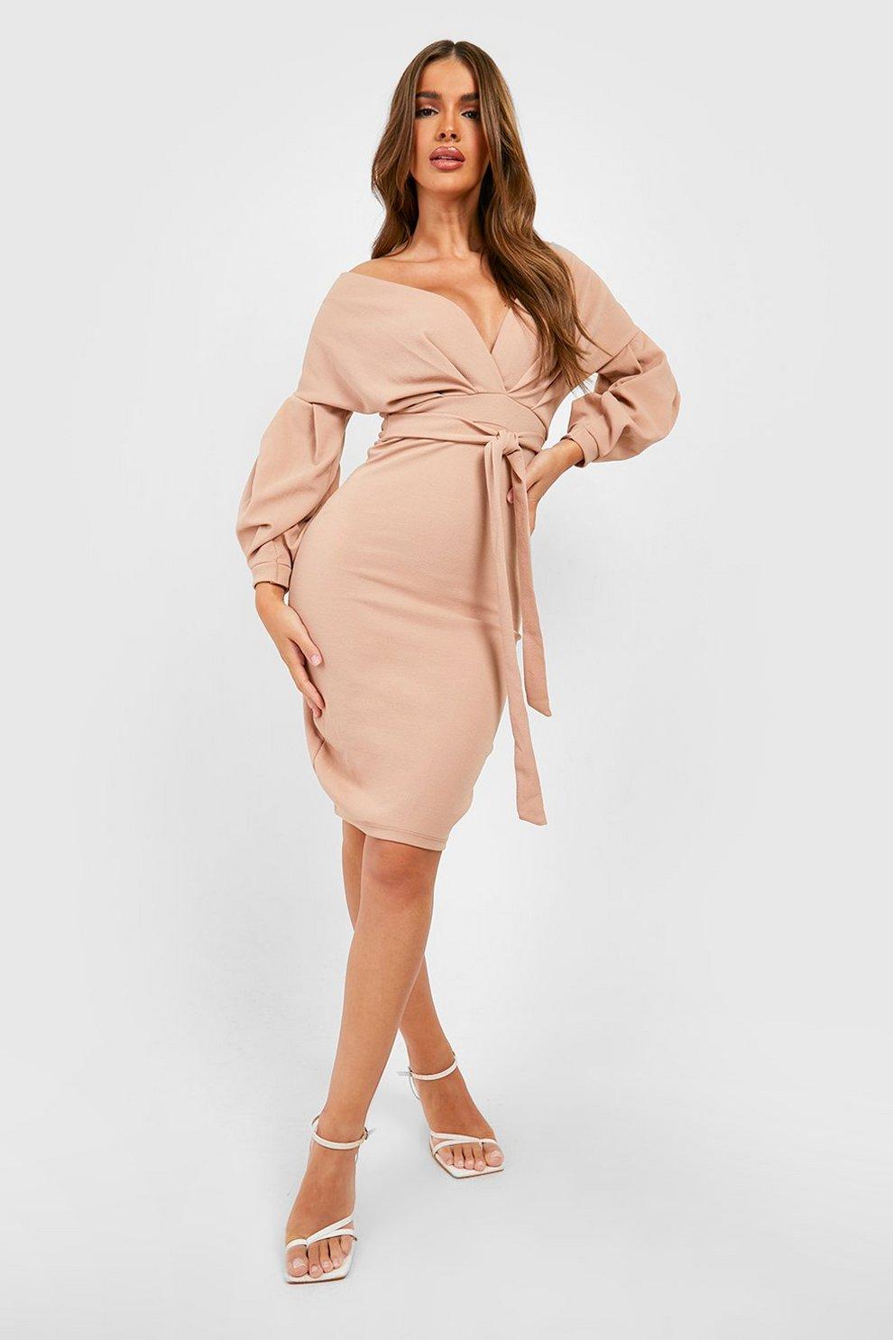 8e13e4a4bfd8 Off the Shoulder Wrap Midi Dress