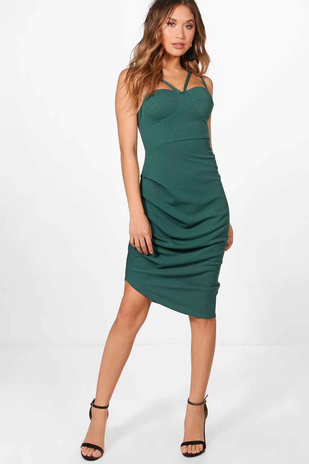 707f59bbe1e1 Strappy Ruched Side Midi Dress | Boohoo